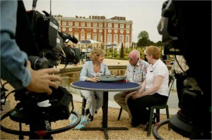 Hilary Kay filming on Antiques Road Show